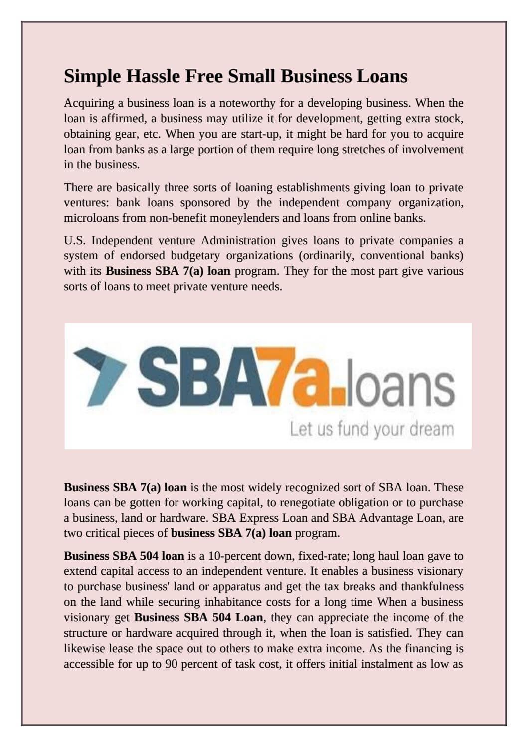 benefits of an SBA Loan