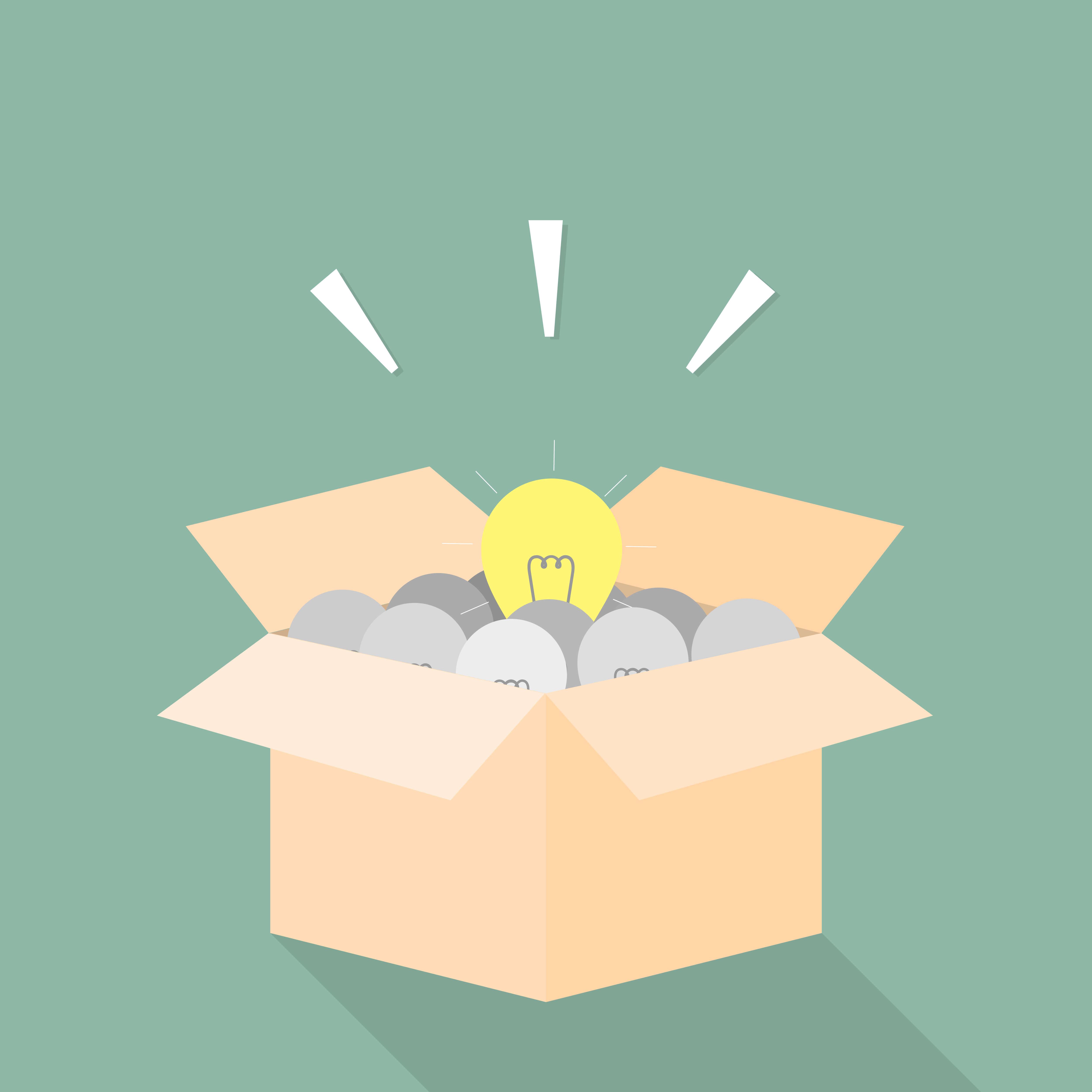 Light bulb in box. good idea concept.